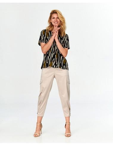Bluzka damska w odcienku khaki i beżu