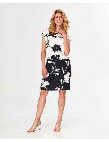 Sukienka damska w kwiatowe czarno-białe printy