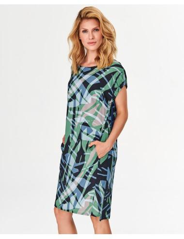 Sukienka damska w zielono-niebieskie printy