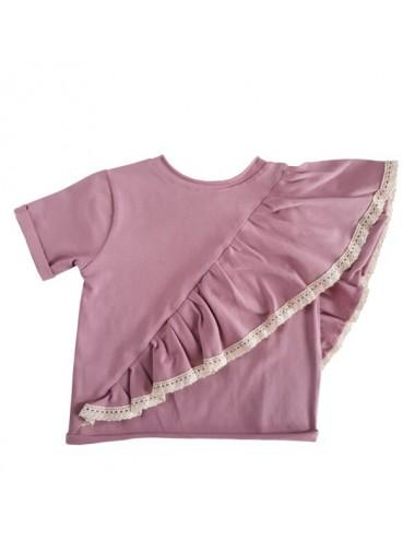 Koszulka różowa z falbanką i koronką